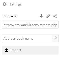 Web interface contacts address